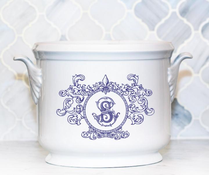 SN-Pantry Champagne Bucket | Fleur de Lis, S, Navy