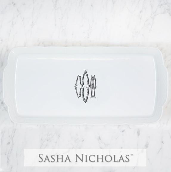 SN-Pantry Weave Hostess Platter | Three Letter Romanesque, COM, Black