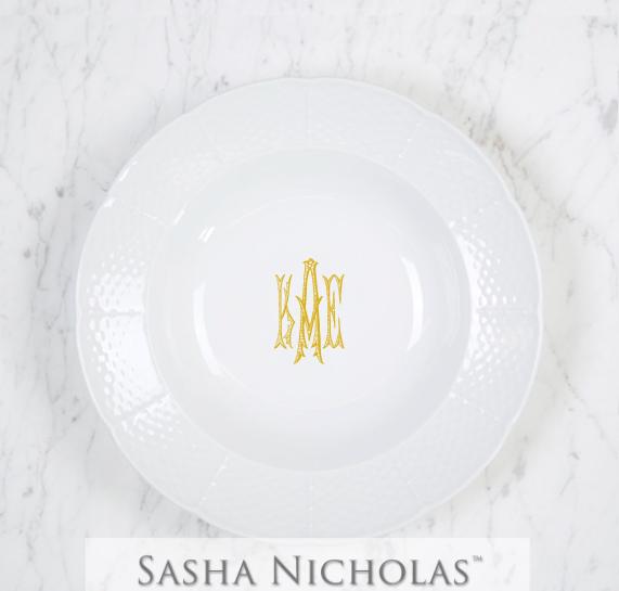 SN-Pantry Weave Rim Soup Bowl | Three Letter Romanesque, KAE, Gold