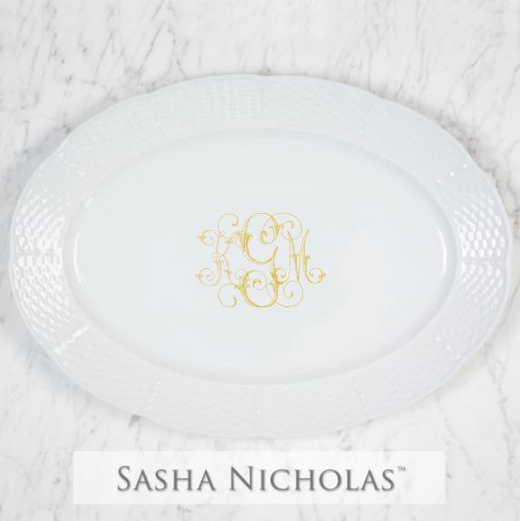 SN-Pantry Weave Oval Platter | Three Letter Script, KGM, Gold
