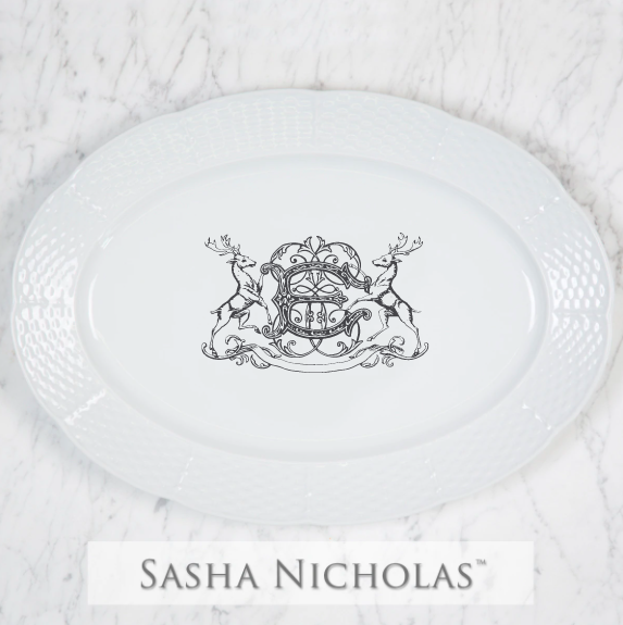 SN-Pantry Weave Oval Platter | Stag Crest, E, Black