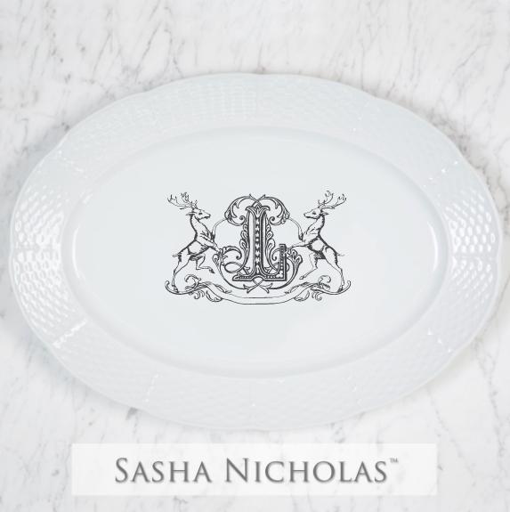 SN-Pantry Weave Oval Platter | Stag Crest, L, Black