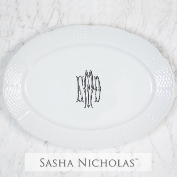 SN-Pantry Weave Oval Platter | Three Letter Romanesque, EMD, Black