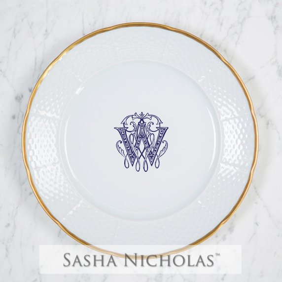 Fish-West Weave 24K Gold Dinner Plate