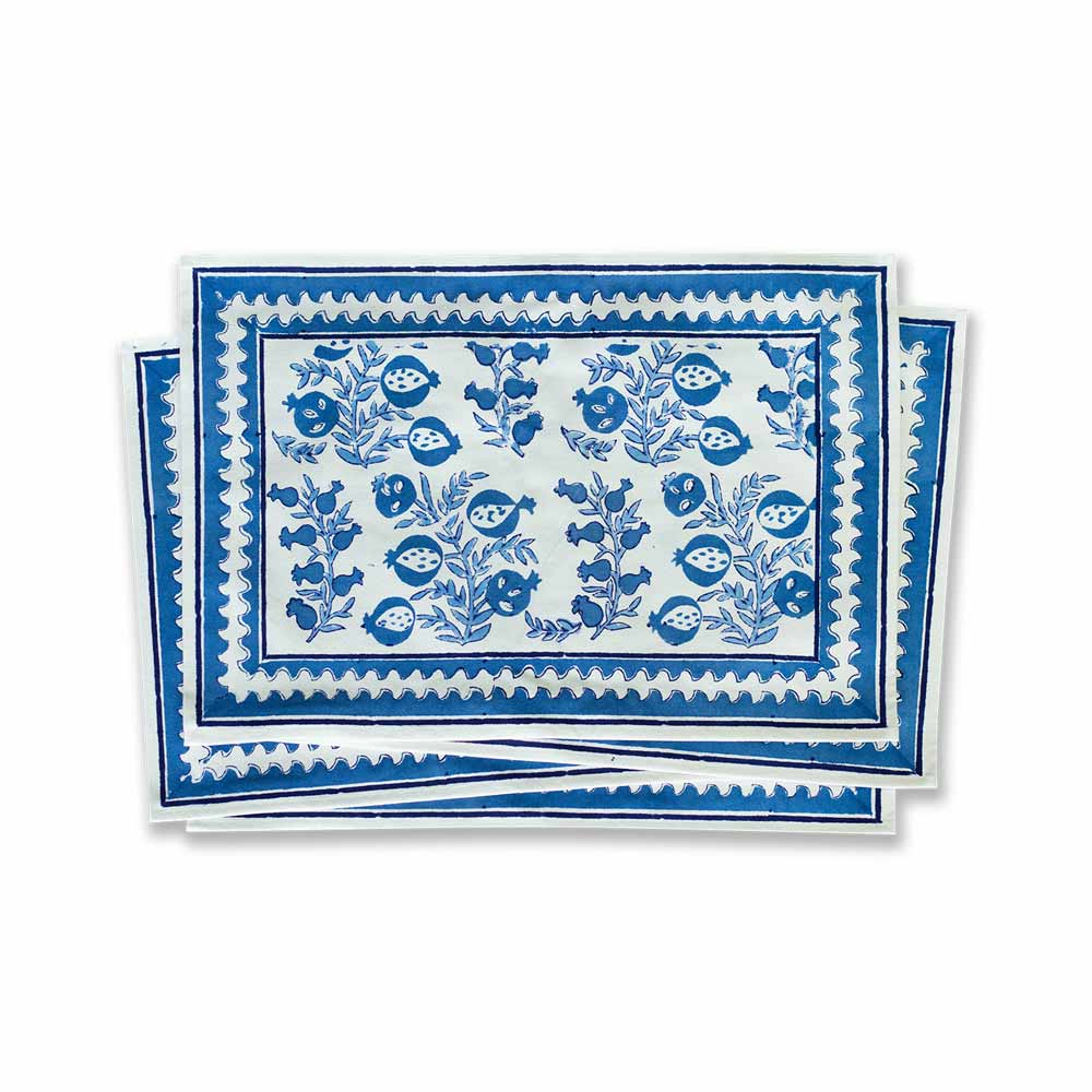 Pom Bells Wedgewood Blue Placemat | Set of Four