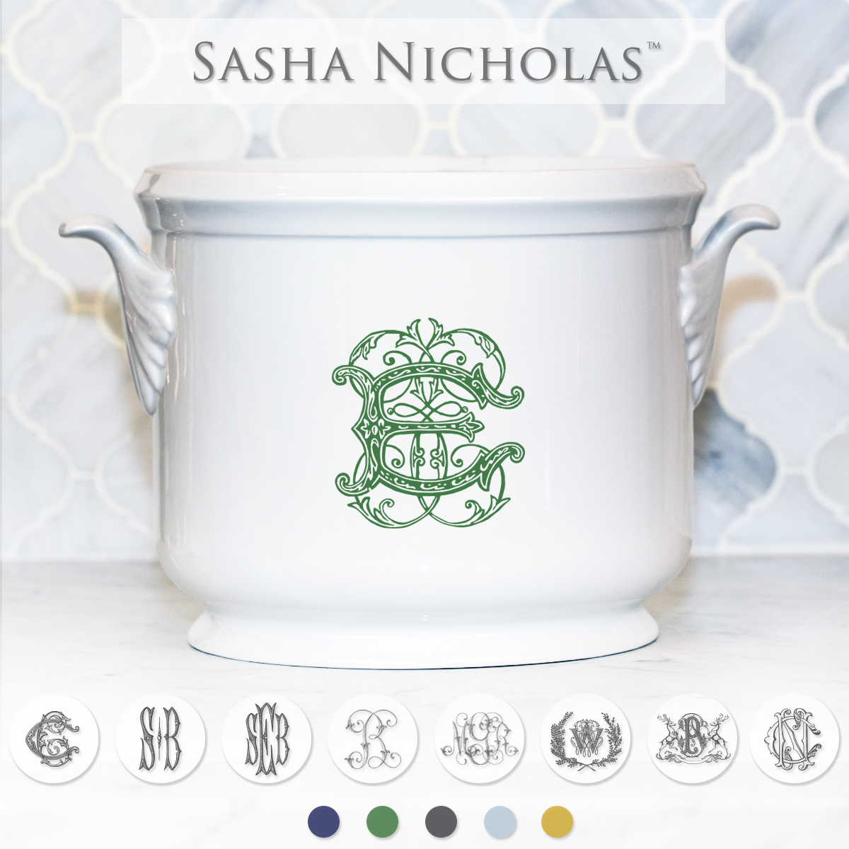 A beautiful addition to your dinnerware collection and to adorn your tablescapes with. It makes the perfect gift for your wedding registry with the included inscription on back. Choose from their signature font styles or use a custom monogram or crest of your choice!   Sasha Nicholas's white porcelain champagne bucket
