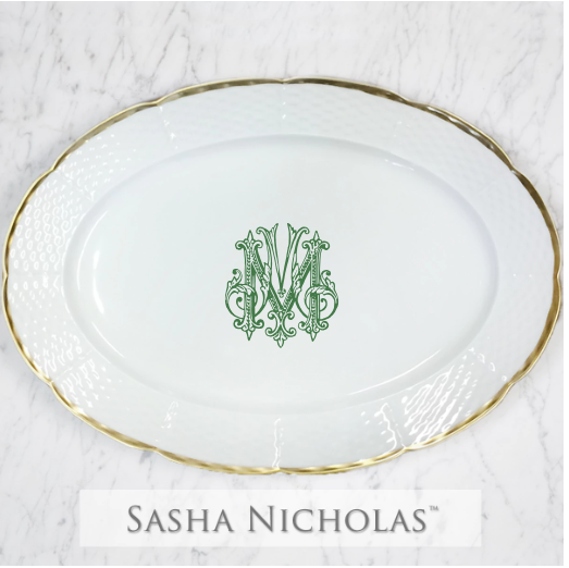 A beautiful addition to your dinnerware collection and to adorn your tablescapes with. It makes the perfect gift for your wedding registry with the included handwritten inscription on back. Choose from their signature font styles or use a custom monogram or crest of your choice! | Sasha Nicholas's white porcelain oval platter