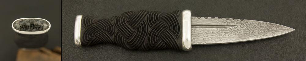 Sgian Dubh in Bog Oak / Aberdeen Granite / Damascus Steel (SGTG16)