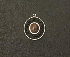 Sterling Silver pendant with Bog Oak and Garnet (CJ131)