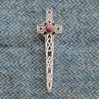 Fife Red Jasper Celtic Cross Kilt Pin