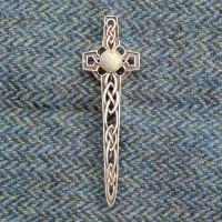 Iona Marble Celtic Cross Kilt Pin
