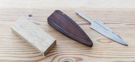 Oak and Stainless Steel Sgian Dubh Kit