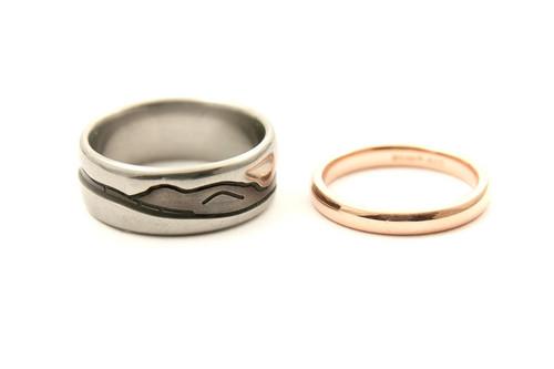Titanium and Rose Gold Wedding Rings (CJ218)