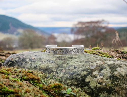 Sterling Silver bangle with Pictish Kelpies (CJ221)