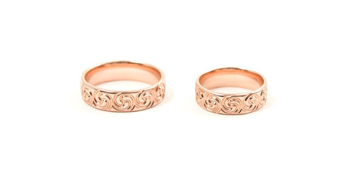 9ct Rose Gold Celtic Spiral Wedding Rings
