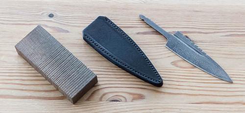 Sgian Dubh Kit ~ Bog Oak / Damascus / Leather Sheath