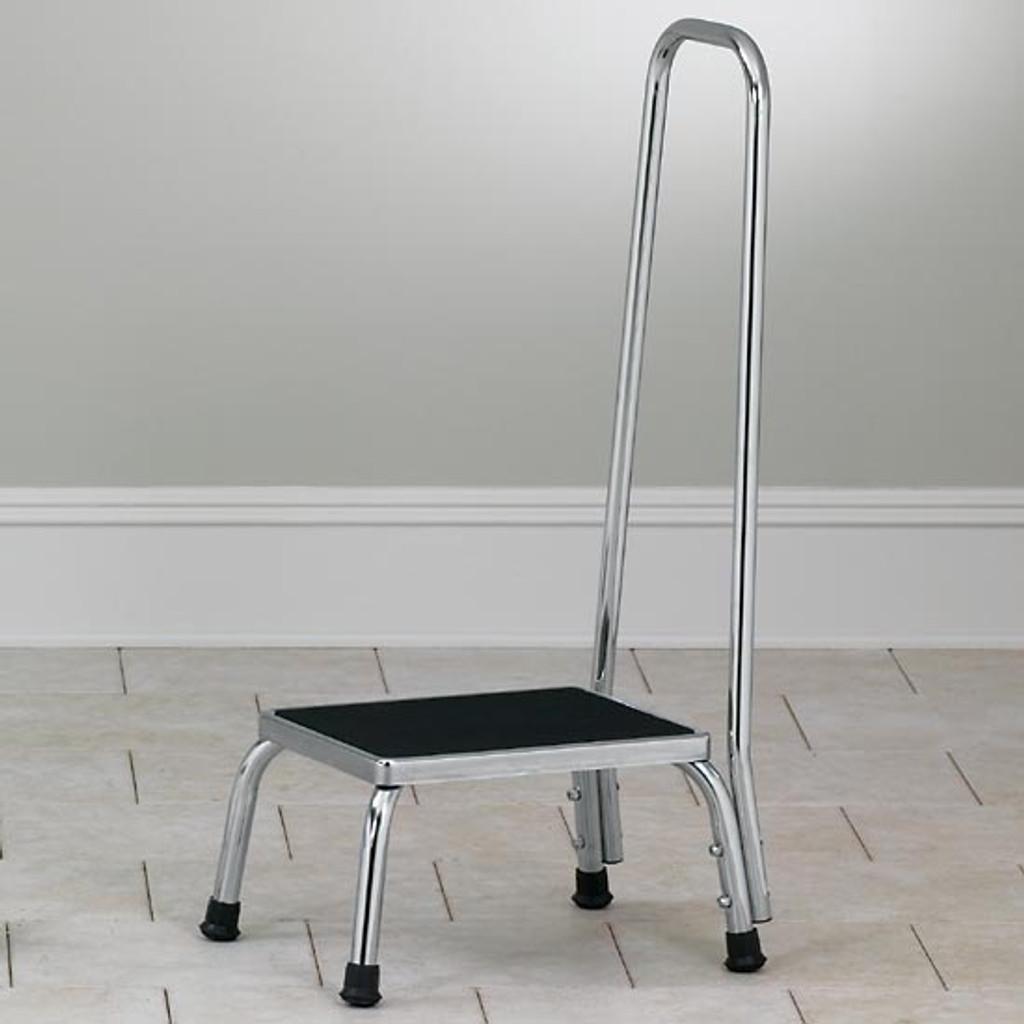 Chrome Step Stool with Handrail