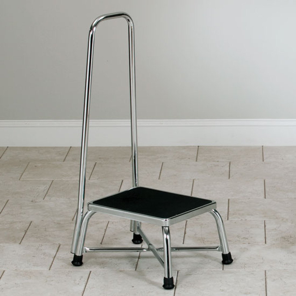 Chrome Bariatrics Step Stool with Handrail