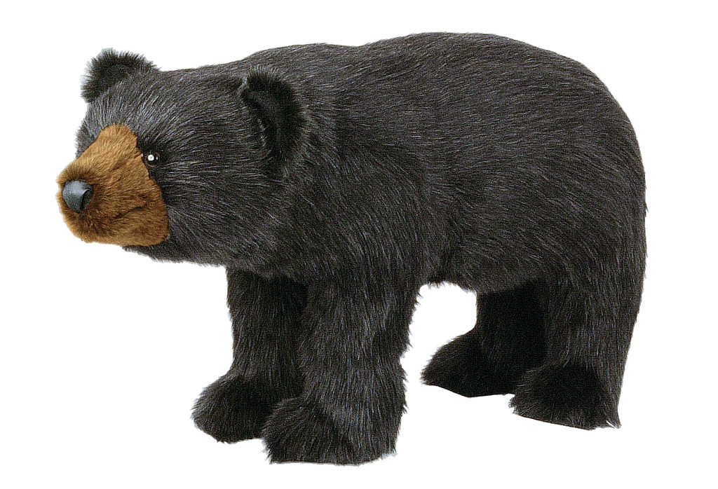 plush black bear footrest ottoman