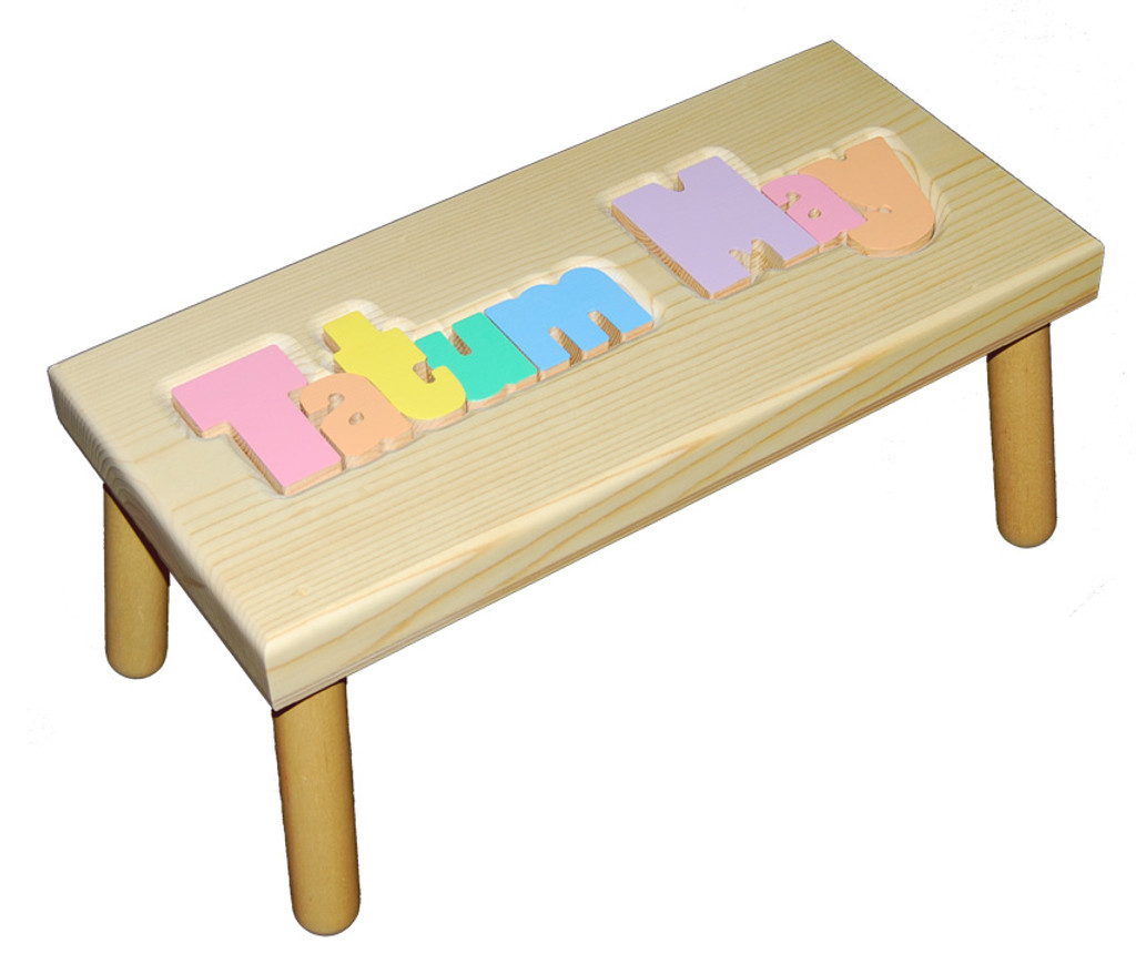 Digitally Cut Large Puzzle Step Stool
