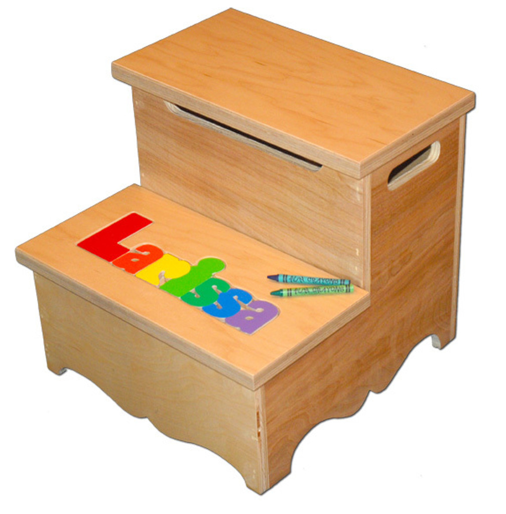 Digitally Cut Two Step Puzzle Stool with Storage