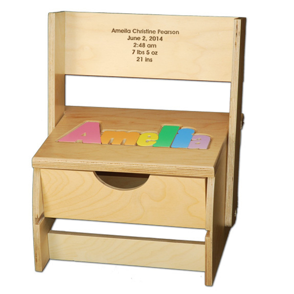 Digitally Cut Flip Style Puzzle Stool with Storage