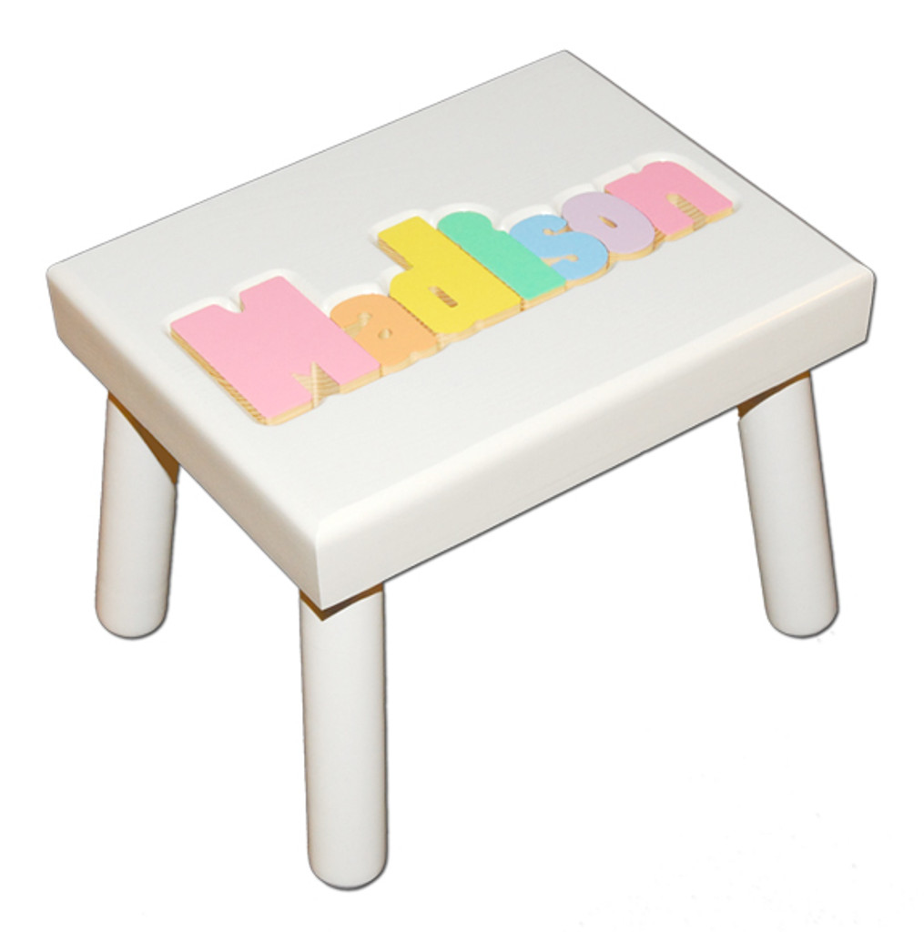 white puzzle step stool