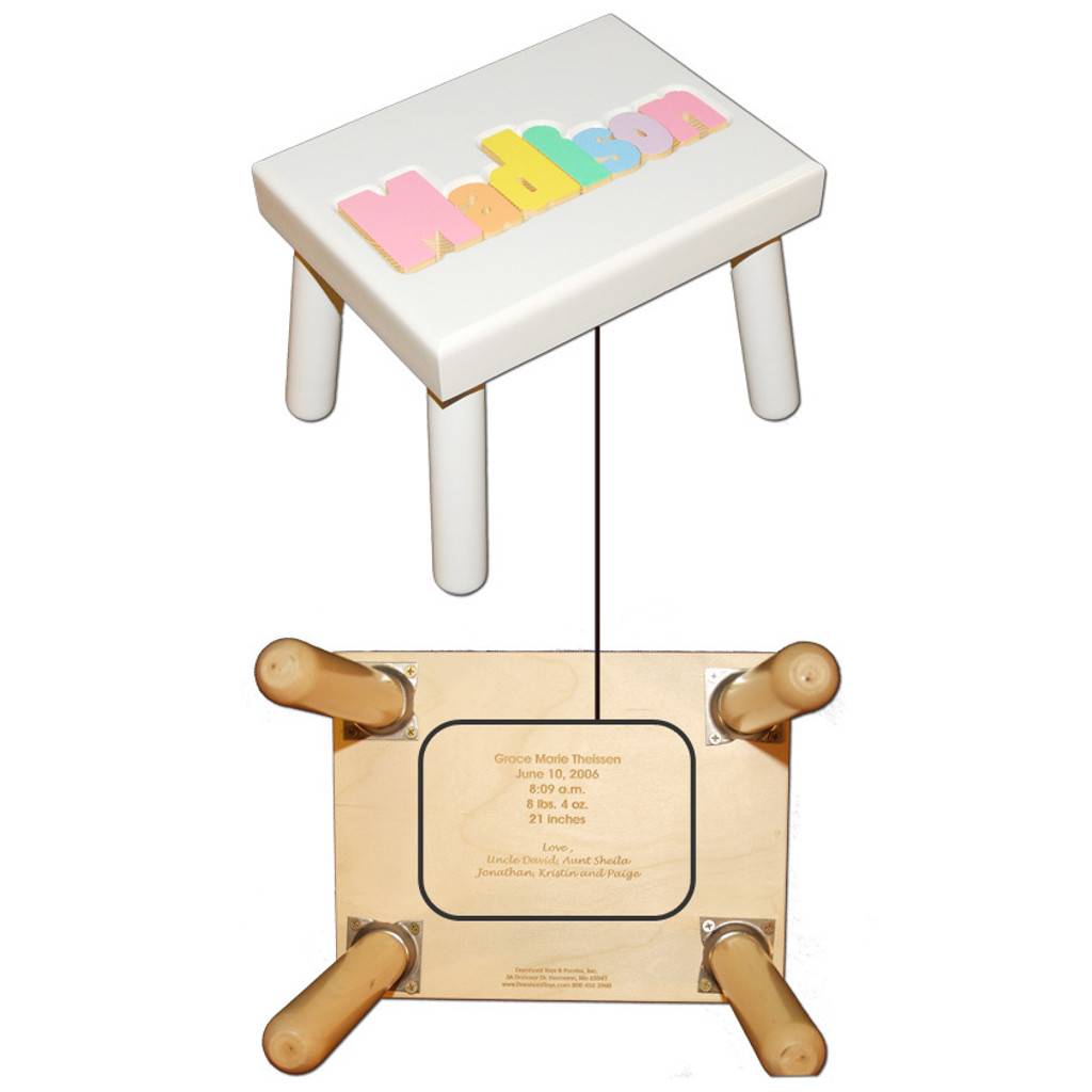 Digitally Cut Small Puzzle Step Stool - White