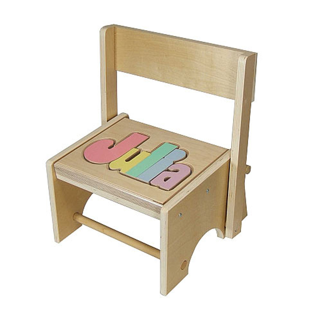 puzzle stool shown with pastel letters