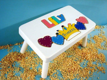 white princess puzzle stool with jewel letters