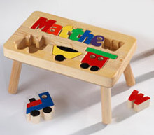 Train Puzzle Name Stool
