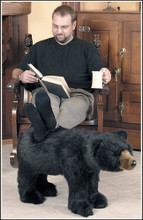 Plush Black Bear Footrest