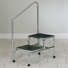 chrome two step stool with handrail
