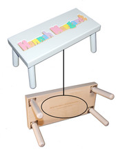 Digitally Cut Large Puzzle Step Stool - White