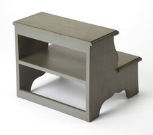Melrose Step Stool in Silver Satin