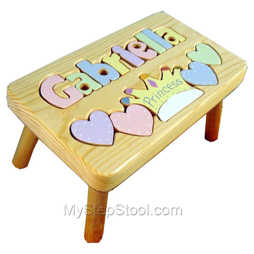 natural princess puzzle stool with pastel letters