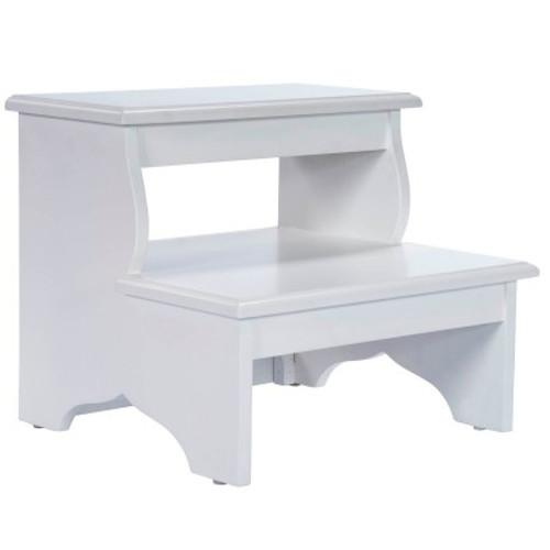 Classic White Storage Step Stool For Kids