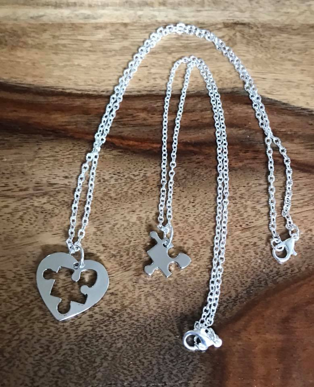 1de57d7ce9e69 Autism Awareness Puzzle Piece Heart Necklace Set