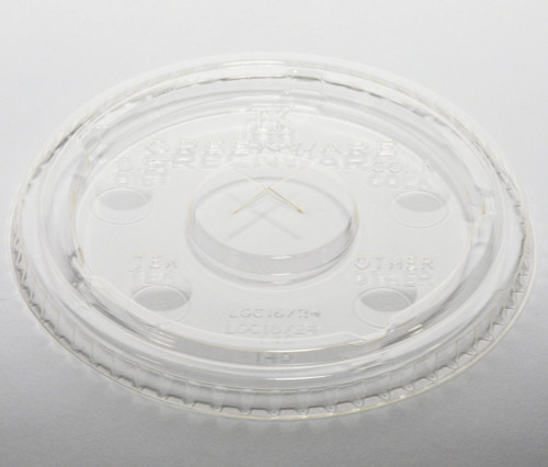 Compostable PLA cup Lids with Flavor Buttons 9509112