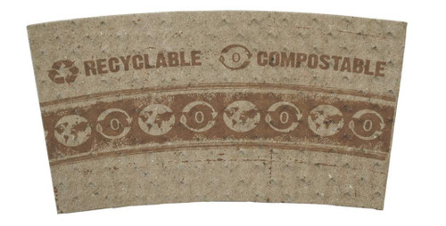 Compostable 100% Post-Consumer Recycled Paper Hot Cup Sleeves, for 10 - 20 oz. Cups| 1000 COUNT