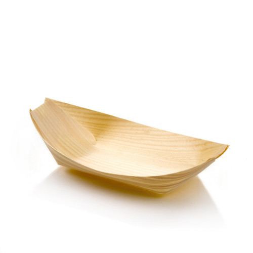 "6"" x 3.25"" Medium Wooden Food Boat Sample"