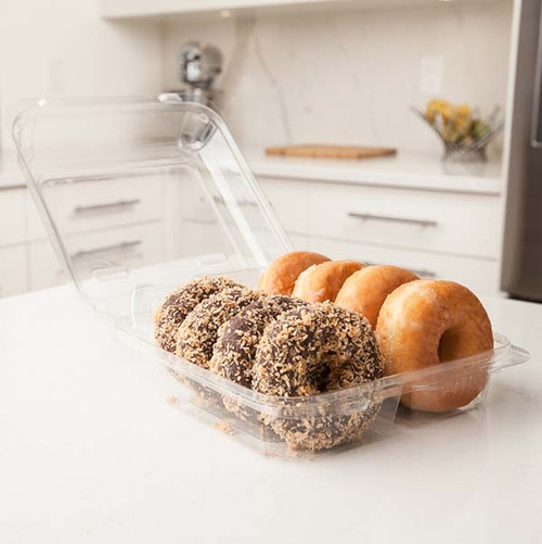 """Double Row 3.5"""" Cookie, Donut & Loaf Angled Containers Sample"""