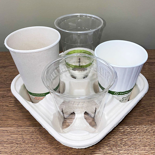 Compostable paper takeout cup carriers