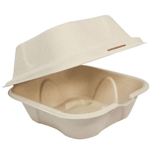 World Centric Compostable Fiber Clamshell Container TO-SC-U15B-LF