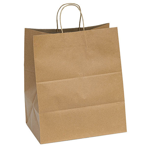 Kraft recycled paper shopping bags with handles - 14.5 x 9.6 x 16.5
