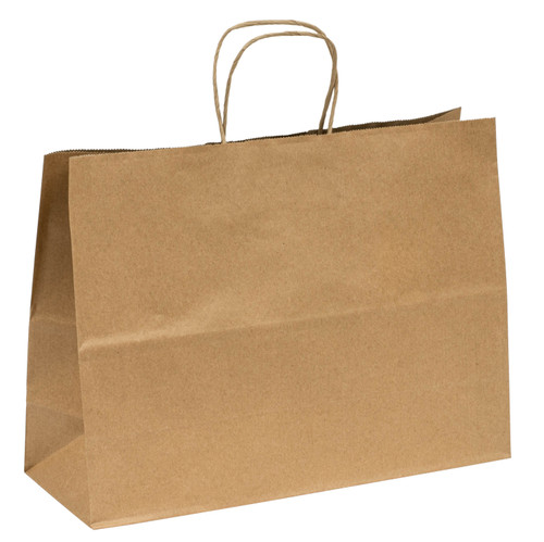 Sample Kraft recycled paper shopping bags with handles - 15.9 x 5.9 x 12