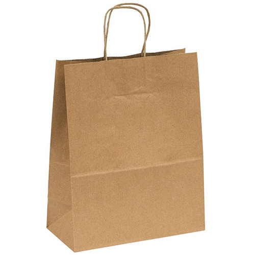 Kraft Recycled Paper shopping bags with handles - 10.2 x 5.1 x 12.8