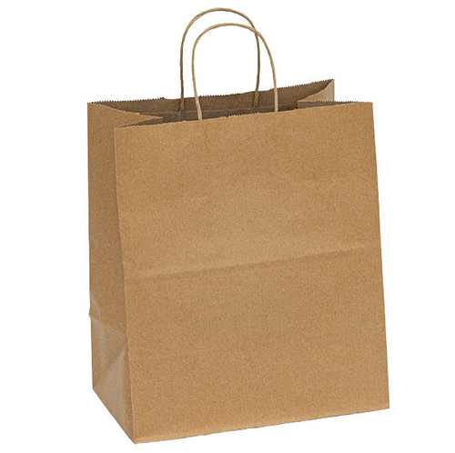 """Sample Kraft recycled paper shopping bags with handles - 10.2"""" x 6.5"""" x 12"""""""