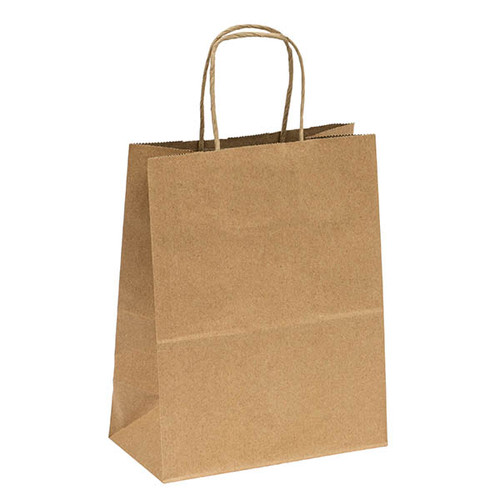 Sample Kraft recycled paper shopping bags with handles - 8 x 4.5 x 10.6