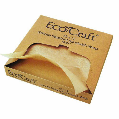 12 x 12 Natural compostable sandwich wrap deli paper 300897 sample